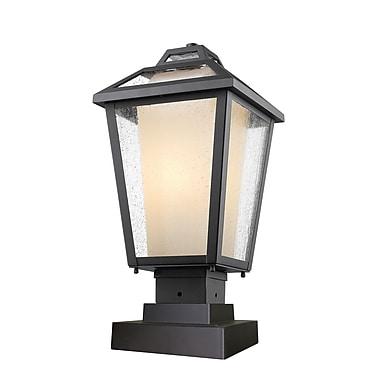 Z-Lite 532PHMS-SQPM-BK Memphis Outdoor Light Fixture, 1 Bulb, Clear Seedy + Matte Opal