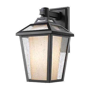 Z-Lite – Luminaire extérieur Memphis 532S-BK, 1 ampoule, transparent à grains + opale mate