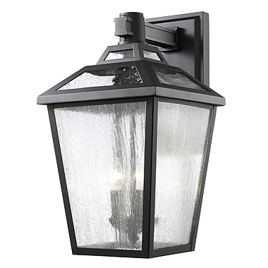 Z-Lite 539B-BK Bayland Outdoor Light Fixture, 3 Bulb, Clear Seedy