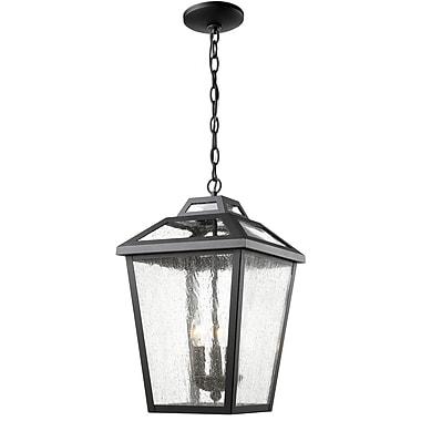 Z-Lite 539CHB-BK Bayland Outdoor Light Fixture, 3 Bulb, Clear Seedy