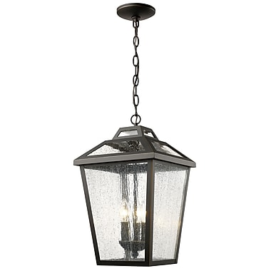Z-Lite 539CHB-ORB Bayland Outdoor Light Fixture, 3 Bulb, Clear Seedy