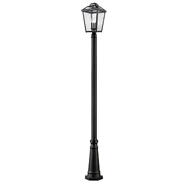 Z-Lite 539PHBR-519P-BK Bayland Outdoor Light Fixture, 3 Bulb, Clear Seedy
