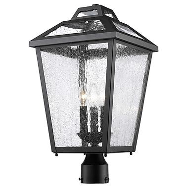 Z-Lite – Luminaire extérieur Bayland 539PHBR-BK, 3 amp., transparent à grains