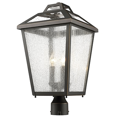 Z-Lite 539PHBR-ORB Bayland Outdoor Light Fixture, 3 Bulb, Clear Seedy
