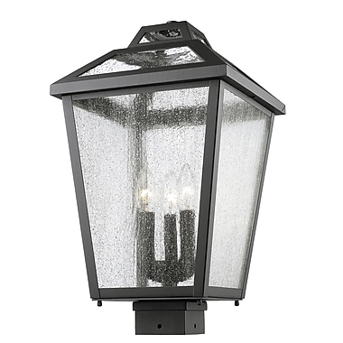 Z-Lite 539PHBS-BK Bayland Outdoor Light Fixture, 3 Bulb, Clear Seedy