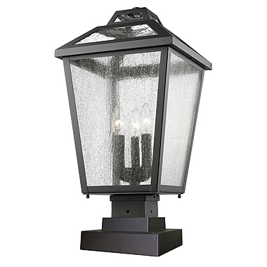 Z-Lite 539PHBS-SQPM-BK Bayland Outdoor Light Fixture, 3 Bulb, Clear Seedy