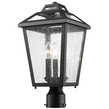 Z-Lite – Luminaire extérieur Bayland 539PHMR-BK, 3 amp., transparent à grains