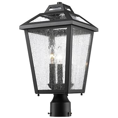 Z-Lite 539PHMR-BK Bayland Outdoor Light Fixture, 3 Bulb, Clear Seedy