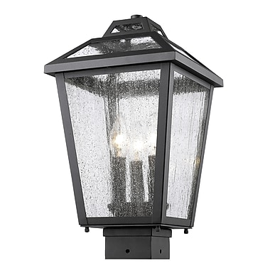 Z-Lite 539PHMS-BK Bayland Outdoor Light Fixture, 3 Bulb, Clear Seedy