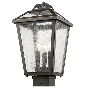 Z-Lite 539PHMS-ORB Bayland Outdoor Light Fixture, 3 Bulb, Clear Seedy