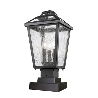 Z-Lite 539PHMS-SQPM-BK Bayland Outdoor Light Fixture, 3 Bulb, Clear Seedy