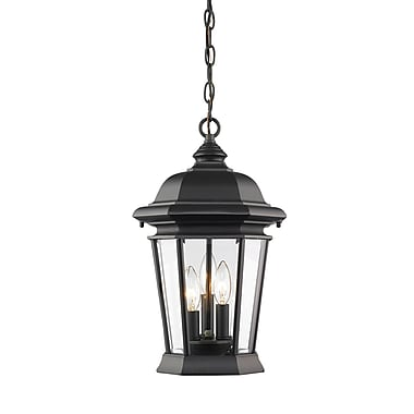Z-Lite 540CHB-BK Melbourne Outdoor Light Fixture, 3 Bulb, Clear Beveled