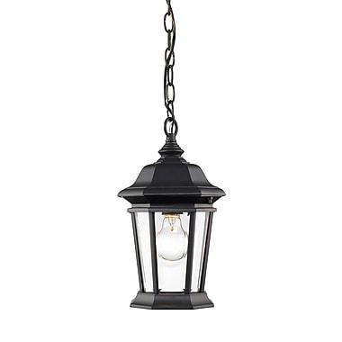 Z-Lite – Luminaire extérieur Melbourne 540CHM-BK, 1 ampoule, biseauté transparent