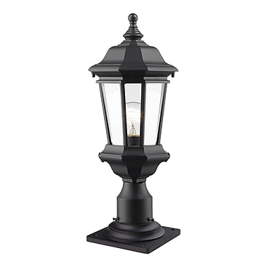 Z-Lite 540PHM-533PM-BK Melbourne Outdoor Light Fixture, 1 Bulb, Clear Beveled