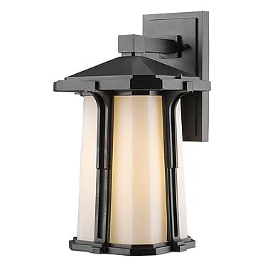 Z-Lite 542B-BK Harbor Lane Outdoor Light Fixture, 1 Bulb, Matte Opal