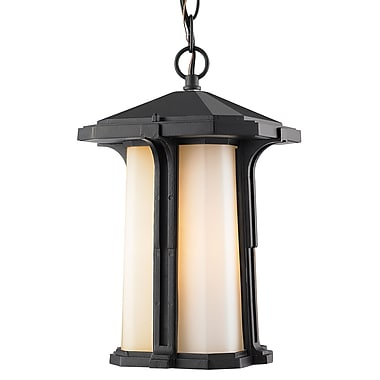 Z-Lite 542CHB-BK Harbor Lane Outdoor Light Fixture, 1 Bulb, Matte Opal