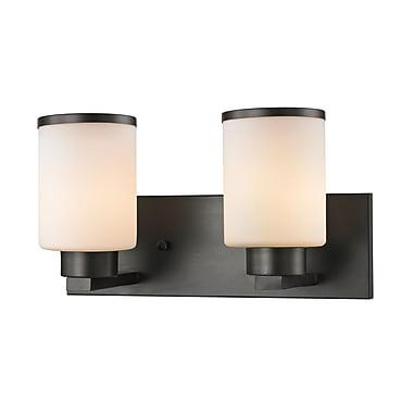 Z-Lite 705-2V-BRZ Roxburgh Vanity Light Fixture, 2 Bulb, Matte Opal