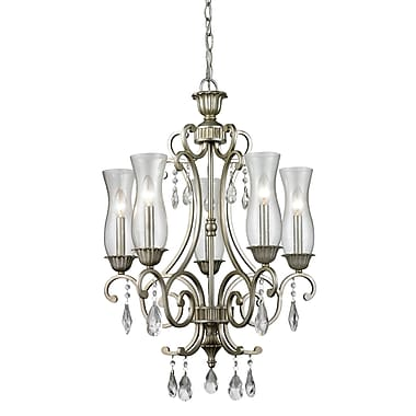 Z-Lite 720-5-AS Melina Chandelier Light Fixture, 5 Bulb, Clear Seedy