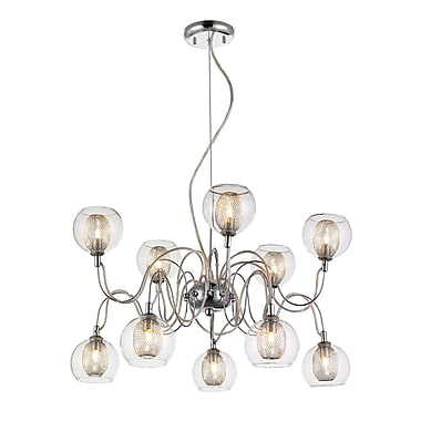 Z-Lite 905-10B Auge Chandelier Light Fixture, Number of Bulbs: 10, Clear + Iron Mesh