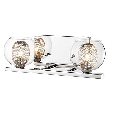 Z-Lite 905-2V Auge Vanity Light Fixture, 2 Bulb, Clear + Iron Mesh