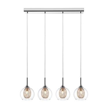 Z-Lite 905-4 Auge Island/Billiard Light Fixture, 4 Bulb, Clear + Iron Mesh