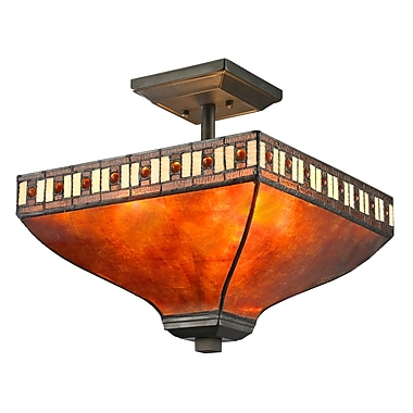 Z-Lite – Luminaire semi-encastré Crimson Z14-53SF, 3 amp., mica ambré et Tiffany ambre et miel