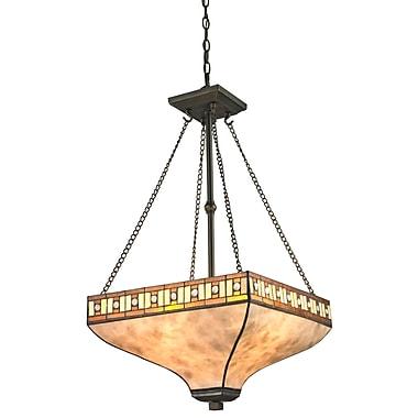 Z-Lite – Luminaire suspendu Crimson Z17-52P, 3 amp., mica blanc et Tiffany ambre et miel