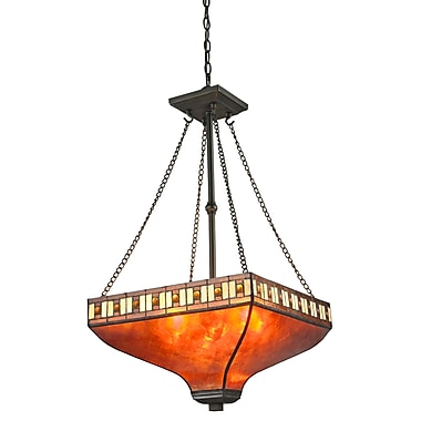 Z-Lite – Luminaire suspendu Crimson Z17-53P, 3 amp., mica ambré et Tiffany ambre et miel