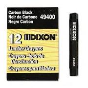 DIXON TICONDEROGA CO. Lumber Crayon, Permanent, Carbon Black, 12 per pack