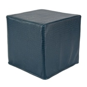 Brite Ideas Living Glade Runner Hassock Seamed Cube Ottoman; Pacific