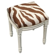 123 Creations Zebra Stripes Linen Upholstered Vanity Stool w/ Nailhead; Chocolate