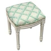 123 Creations Bamboo Trellis Linen Upholstered Vanity Stool with Nailhead; Aqua