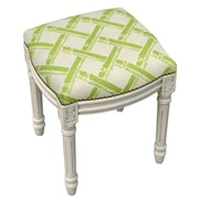 123 Creations Bamboo Trellis Linen Upholstered Vanity Stool w/ Nailhead; Chartreuse Green