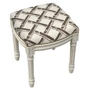 123 Creations Bamboo Trellis Linen Upholstered Vanity Stool w/ Nailhead; Gray