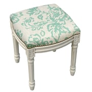 123 Creations Toile Linen Upholstered Vanity Stool with Nailhead; Aqua