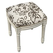 123 Creations Toile Linen Upholstered Vanity Stool w/ Nailhead; Gray