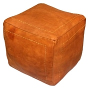 Ikram Design Moroccan Leather Pouf Ottoman; Dark Orange