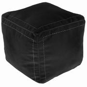 Ikram Design Moroccan Leather Square Pouf Ottoman; Black