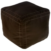 Ikram Design Moroccan Leather Square Pouf Ottoman; Chocolate