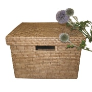 artifacts trading Rattan File Box with Lid and Cutout Handles