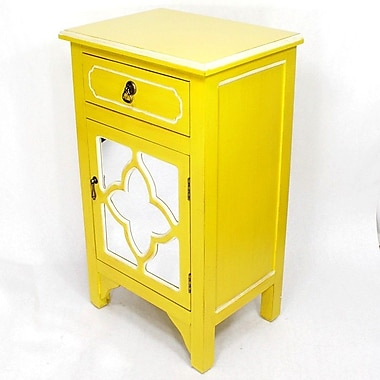 Heather Ann Wooden Cabinet w/ 1 Drawer and 1 Door; Yellow