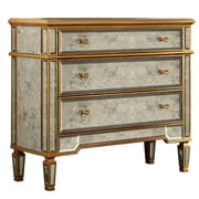 Elegant Lighting Florentine 3 Drawer Chest; Gold & Antique Mirror