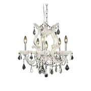 Elegant Lighting Maria Theresa 6 Light  Chandelier; White / Crystal (Clear) / Royal Cut