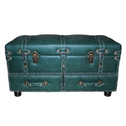 River of Goods Faux Leather Trunk; Green