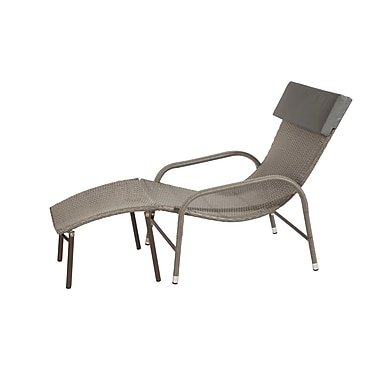 Patioflare PF-CH278-BR Ariel Wicker Sun Chair and Ottoman, Ash Brown