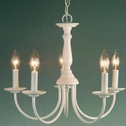 Volume Lighting 5 Light Candle Chandelier; White