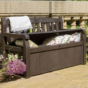 Keter All Weather Outdoor 70 Gallon Storage Bench; Brown / Brown