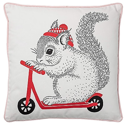 Bloomingville Squirrel on Scooter Cotton Throw Pillow WYF078278673466