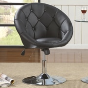 Roundhill Furniture Noas Contemporary Tufted Back Tilt Swivel Barrel Chair; Black