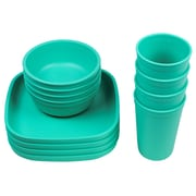 Re-Play Love My Color 12 Piece Dinnerware Set; Aqua